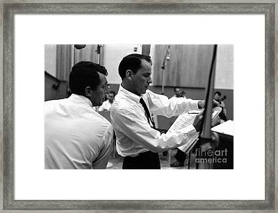 Frank Sinatra And Dean Martin At Capitol Records Studios 1958. Framed Print