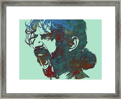 Frank Zappa Stylised Pop Art Drawing Potrait Poser Framed Print by Kim Wang