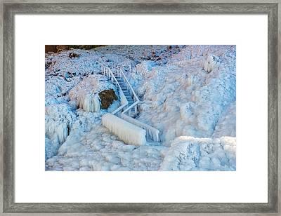 Frozen Staircase By Seljalandsfoss Framed Print