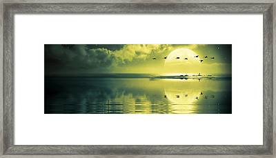 Fullmoon Over The Ocean Framed Print