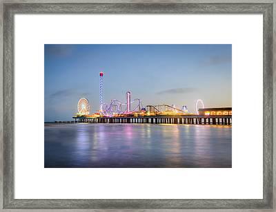 Galveston Pleasure Pier Sunset Framed Print by Ray Devlin