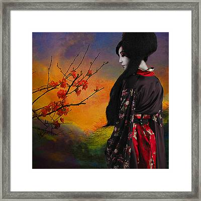 Geisha With Quince Framed Print