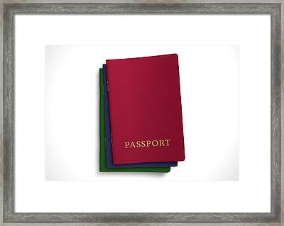 Generic Passport Stack  Framed Print