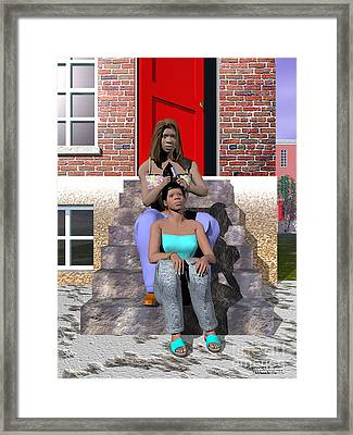 Gettin' Her Hair Did Framed Print by Walter Oliver Neal