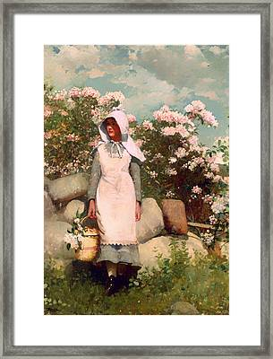 Girl And Laurel Framed Print