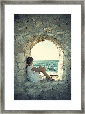Girl At The Sea Framed Print