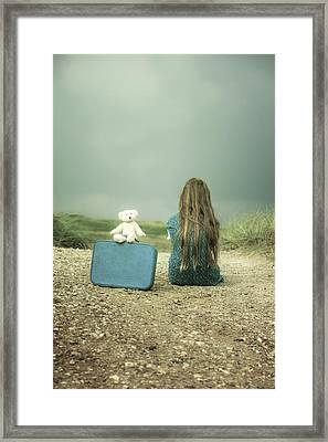 Girl In The Dunes Framed Print