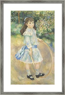 Girl With A Hoop Framed Print by Pierre Auguste Renoir