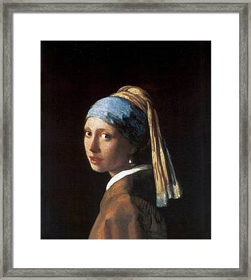 Girl With A Pearl Earring Framed Print by Jan Vermeer