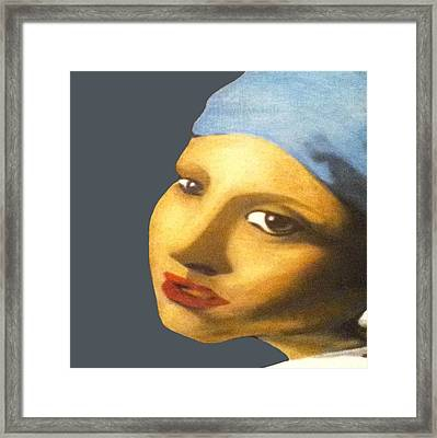 Framed Print featuring the painting Girl With Pearl Earring Face by Jayvon Thomas