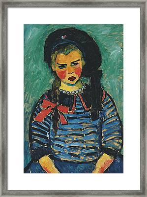 Girl With Red Ribbon Framed Print by Alexej von Jawlensky