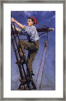 Framed Print featuring the painting Going Aloft by Henry Scott Tuke