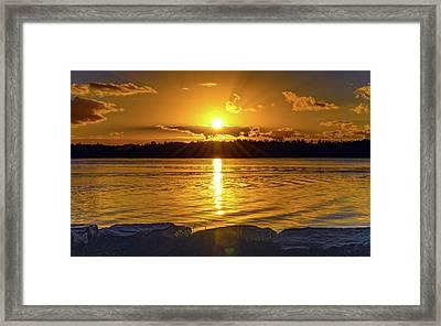 Golden Sunrise Waterscape Framed Print