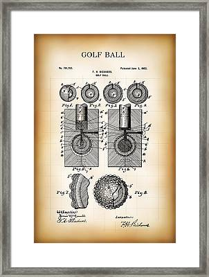 Golf Ball Patent  1902 Framed Print by Daniel Hagerman