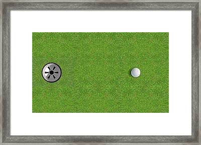 Golf Hole With Ball Approaching Framed Print