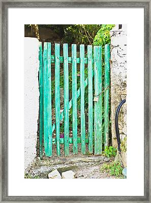Green Gate Framed Print by Tom Gowanlock