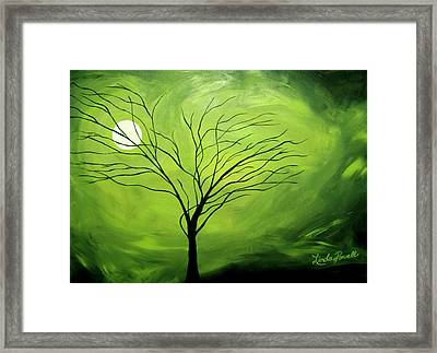 Green Night I Framed Print by Linda Powell