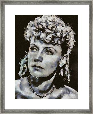 Greta Garbo, Vintage Hollywood Actress Framed Print by Mary Bassett