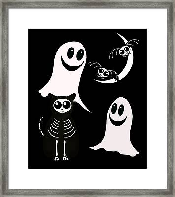 Halloween Bats Ghosts And Cat Framed Print