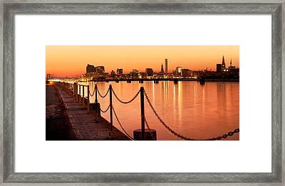 Framed Print featuring the photograph Hamburg Skyline by Marc Huebner