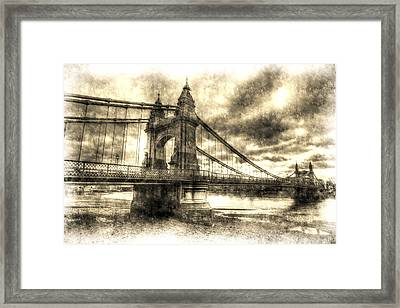 Hammersmith Bridge London Vintage Framed Print