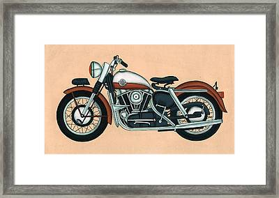 Harley - Davidson Old Byke Antique Vintage, Artwork India, Miniature Painting, Watercolor Painting. Framed Print by A K Mundra