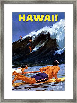 Hawaii Vintage Travel Poster Restored Framed Print