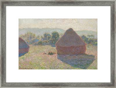 Haystacks Midday Framed Print by Claude Monet