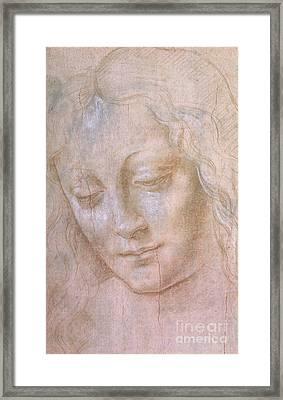 Head Of A Woman  Framed Print by Leonardo da Vinci