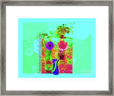 Hearts 'n Flowers-fauve Framed Print