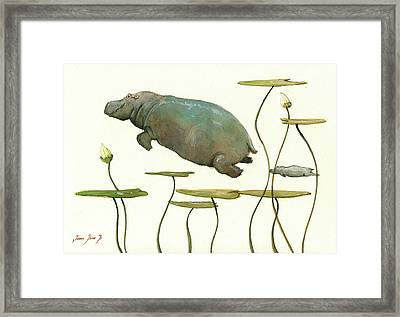 Hippo Mom With Baby Framed Print