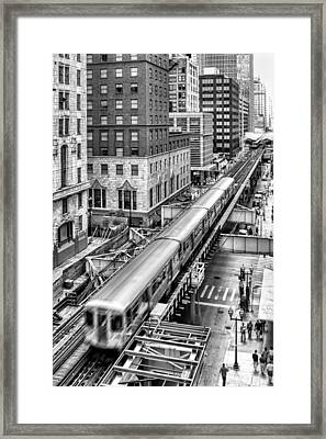 Historic Chicago El Train Black And White Framed Print