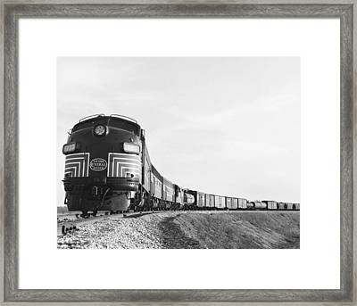 Historic Freight Train Framed Print by Omikron