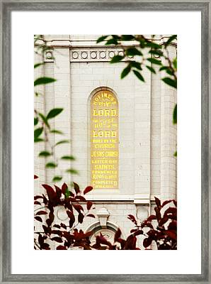 Holiness To The Lord Framed Print by La Rae  Roberts