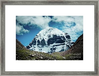 Holy Kailas North Slop Himalayas Tibet Yantra.lv Framed Print by Raimond Klavins