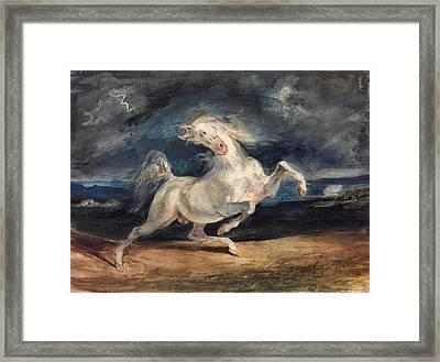 Horse Frightened By Lightning Framed Print by Eugene Delacroix