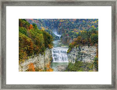 Hot Air Balloon Over The Middle Falls At Letchworth State Park Framed Print