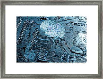 Framed Print featuring the photograph Human Brain And Communication by Christian Lagereek