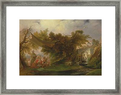 Indian Landscape With Figures Near A Stream Framed Print by William Daniell