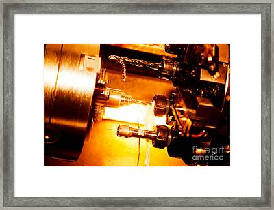 Industrial Cnc Drilling And Boring Machine At Work Framed Print by Michal Bednarek