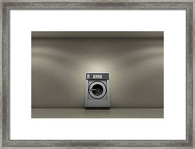 Industrial Washer In Empty Room Framed Print by Allan Swart