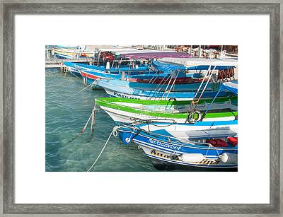Isla Mujeres Boats Framed Print by Carol Ailles