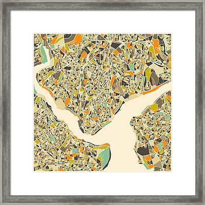 Istanbul Map Framed Print