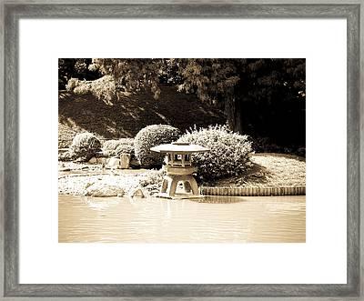 Japanese Hill And Pond Garden New York Framed Print