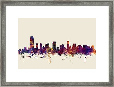 Jersey City New Jersey Skyline Framed Print by Michael Tompsett