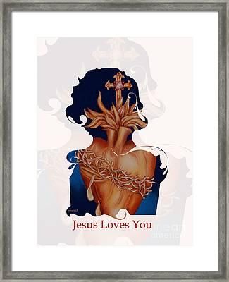 Inri Jesus Loves You   M29 Framed Print