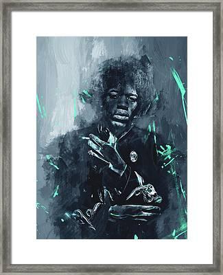 Jimi Hendrix Framed Print by Afterdarkness