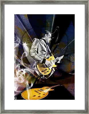 Joe Bonamassa Blue Guitarist Art Framed Print by Marvin Blaine