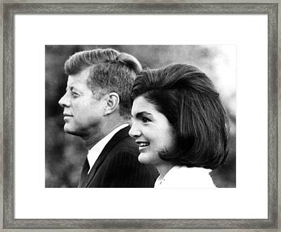John F. Kennedy And Jacqueline Kennedy Framed Print by Everett