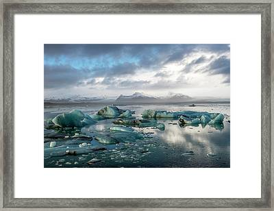Framed Print featuring the photograph Jokulsarlon, The Glacier Lagoon, Iceland 3 by Dubi Roman
